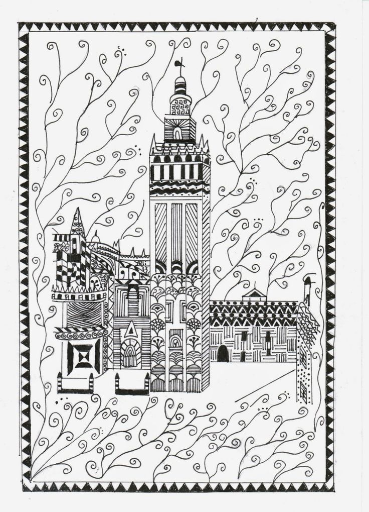 building coloring pages for adults - photo#28