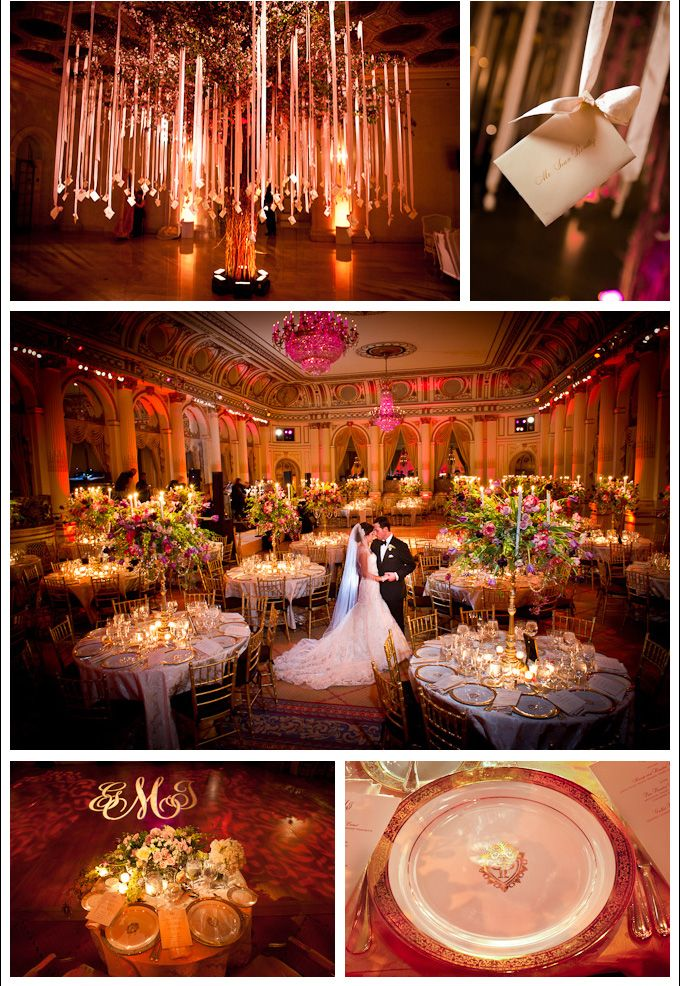 """Wedding at the Plaza Hotel, NY0.  ~ The Plaza, which is the only hotel in New York that is on the Register of Historic Landmarks, is simply ideal for a fantastic event like this: situated in the heart of New York City on Fifth Avenue, its breathtaking Grand Ballroom is a true sight to behold."""""""