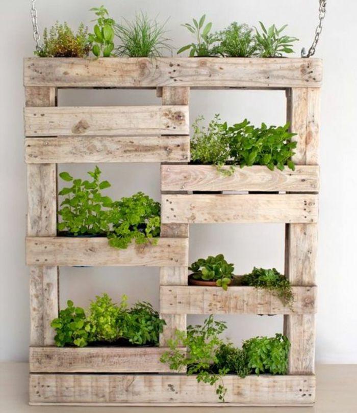 Les 25 meilleures id es de la cat gorie palette de jardin for Mur vegetal suspendu
