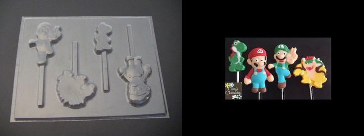 MARIO & LUIGI BOWSER YOSHI Chocolate Soap Candy Gumpaste Clay Gummy Mold #MoldsNMore