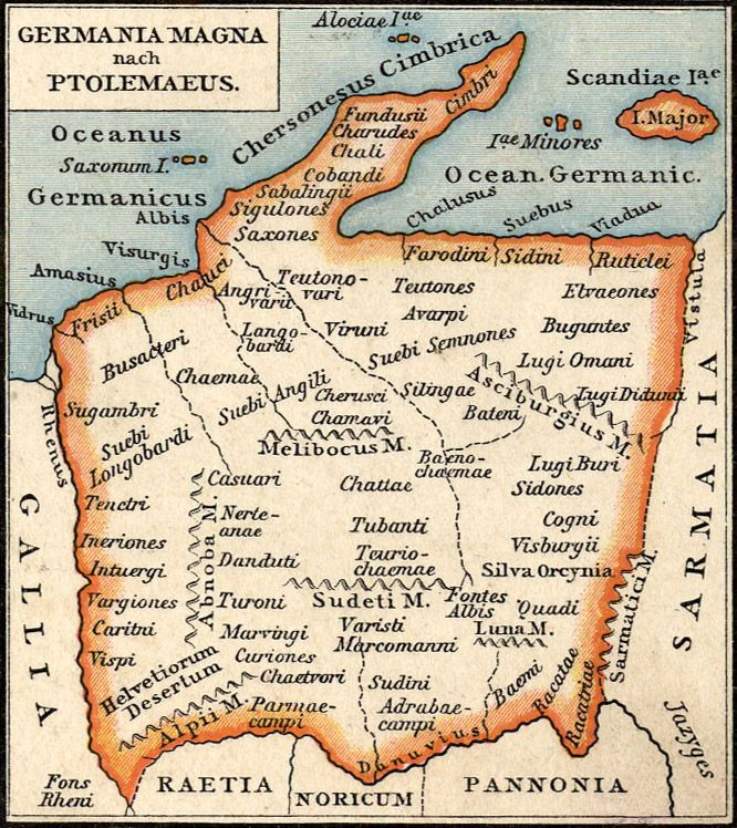 The source for this map of 2nd century  Germania Magna (Greater Germany) is Ptolemaeus' Geographia. The Geographia is a compilation of what was known of the world's geography in the 2nd century AD. Although the knowledge of regions outside the Empire is sometimes quite sketchy, Ptolemy's atlas (the original maps were lost, and reconstituted in later centuries based on the coordinates provided by Ptolemy for each locality) remained authoritative up until the age of Discovery.