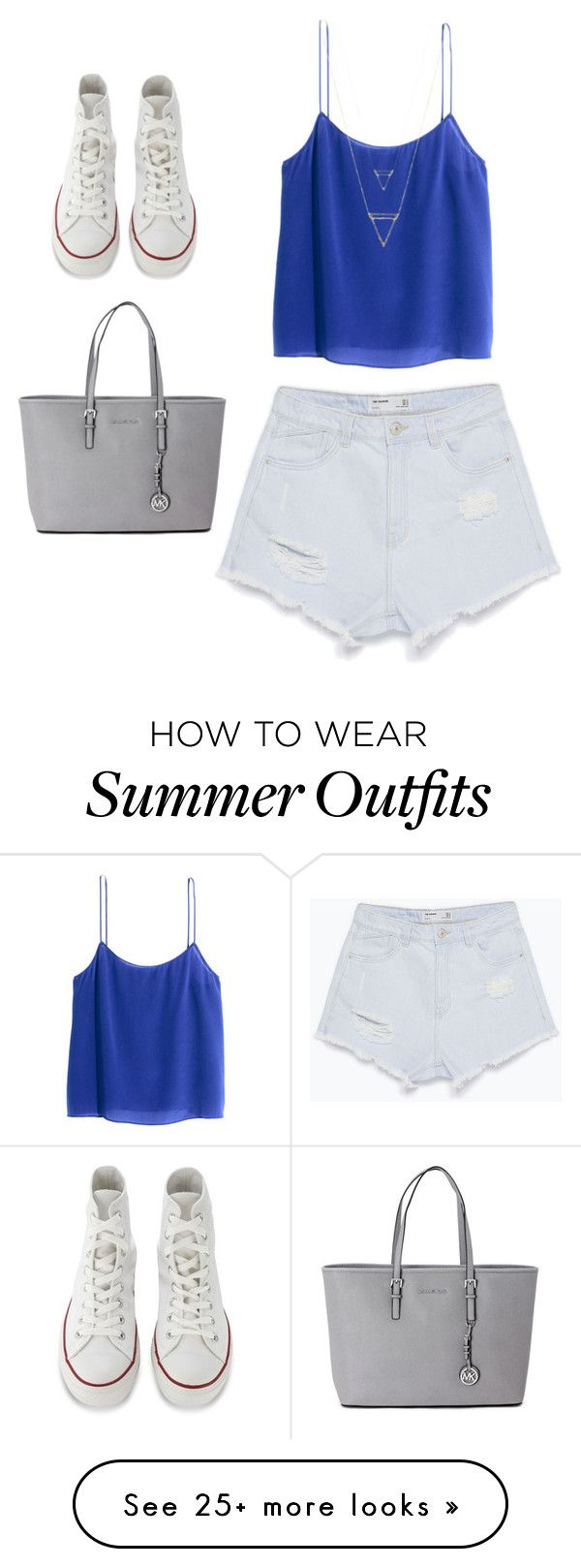 """""""Cute trendy outfit for summer!!!!"""" by dani-franco on Polyvore featuring H&M, Zara, Converse and Michael Kors"""