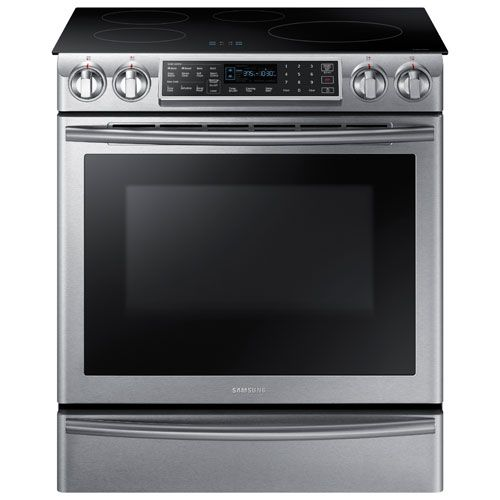 "Great sale 800. Off till November 3rd Samsung 30"" 5.8 Cu. Ft. Slide-In Smooth Top Induction Range - Stainless Steel"