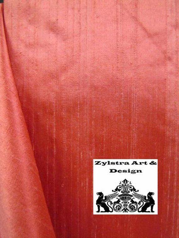 CORAL PINK SILK curtain dupioni silk window dressi…