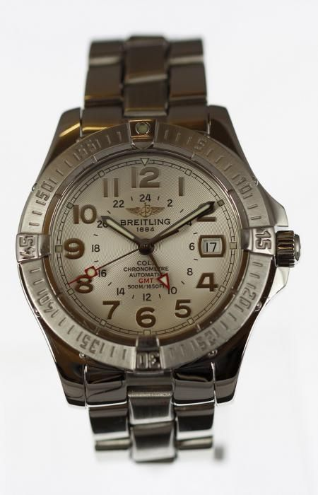 Steel Breitling Colt Aeromarine GMT Automatic - Attenborough Pawnbrokers & Jewellers #attenborough #jewellers #bethnalgreen #london #pawnbroker #unredeemed #prestige #breitling #colt #gmt #watch