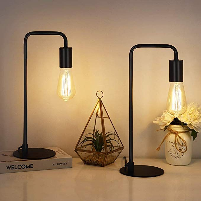 Haitral Industrial Table Lamps Vintage Nightstand Lamps Set Of 2 Bedside Lamps For Bedroom Office Li Industrial Table Lamp Vintage Table Lamp Bedside Lamp