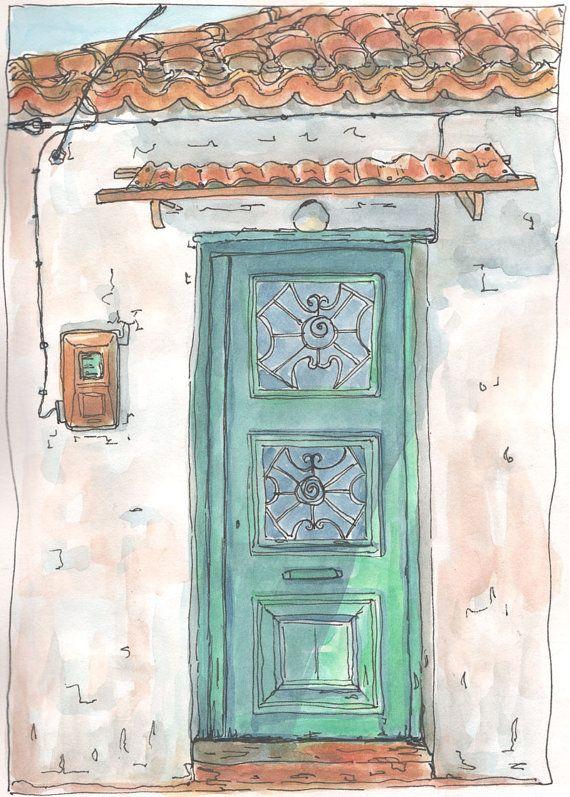 Green Door  Greek Village House  Art Print from by Artistswindow
