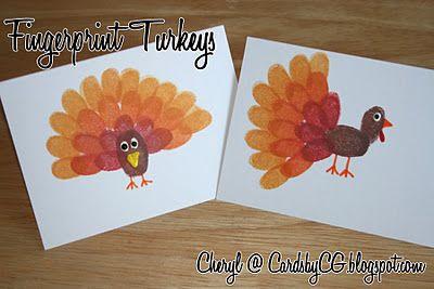 Thanksgiving fingerprint turkeys: Thanksgiving Crafts, Ideas, Thumb Prints, Fingerprints Turkey, Turkey Cards, Kids Crafts, Turkey Craft, Places Cards, Thumbprint Turkey