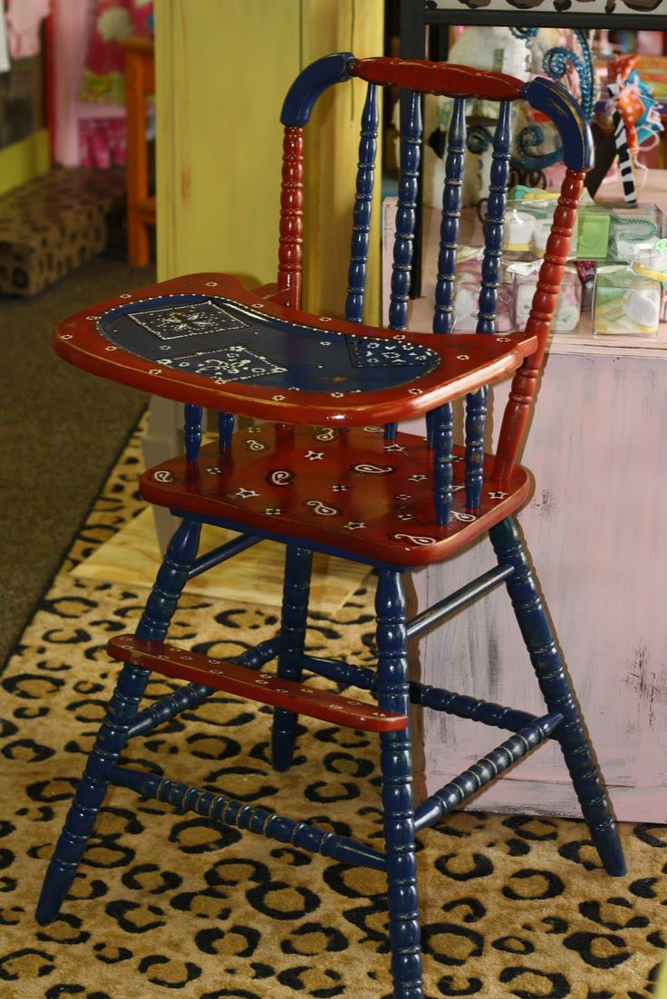 Painted wooden high chairs - Handpainted Bandana High Chair Painted