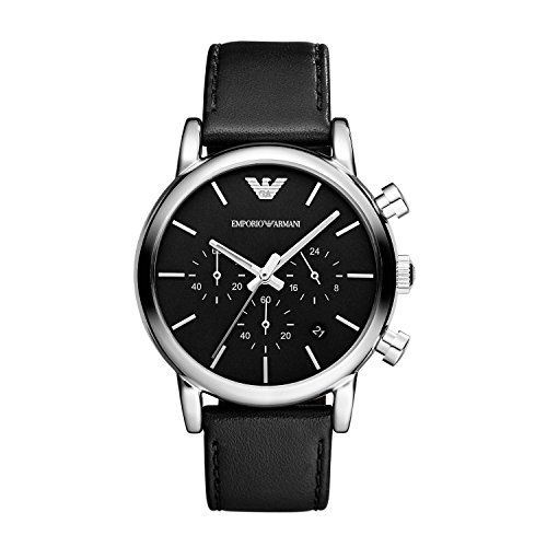 Emporio Armani Mens Watch AR1733 Mans watch. Chronograph analogical quartz movement. Stainless steel case. Black leather strap. Black dial with calendar. Diameter 41mm. Band width 20mm. Case thickness 1 (Barcode EAN = 4053858003699) http://www.comparestoreprices.co.uk/december-2016-5/emporio-armani-mens-watch-ar1733.asp