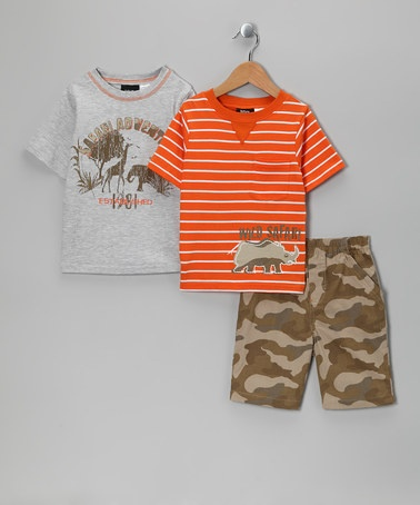Take a look at this Orange & Gray 'Safari' Shorts Set - Infant & Toddler by Boys Rock on #zulily today!