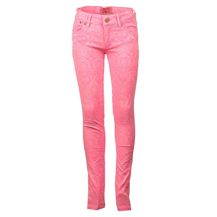 Vingino Kinderkleding Roze Skinny Jeans   Super stoer met een leuke all over print d'r op   www.kienk.nl