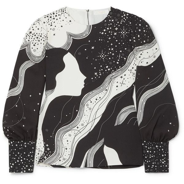 Chloé Printed crepe blouse (23.320 ARS) ❤ liked on Polyvore featuring tops, blouses, keyhole blouse, white and black blouse, a line tops, galaxy blouse and slouchy tops