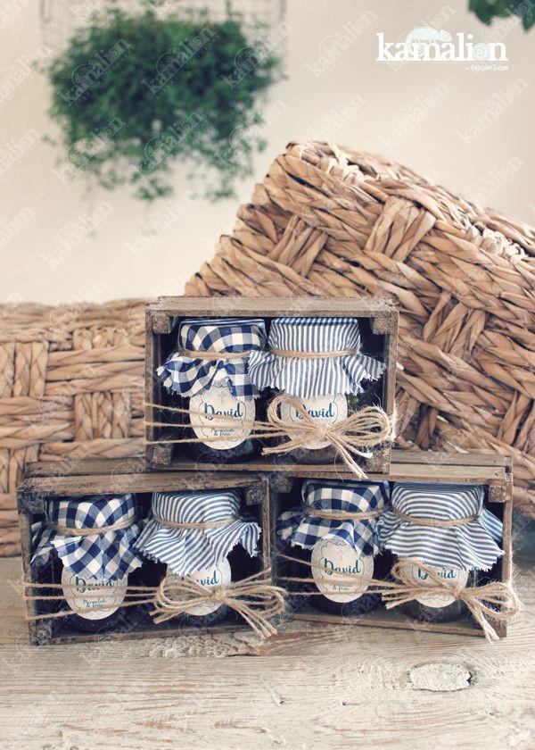 www.kamalion.com.mx - Recuerdos / Giveaways / Favors / Detalles Personalizados / Vintage / Azul / Blue / Mermelada / Jam / Wood / Madera / Kit de Mermeladas / Frascos / Jars / It's a boy.