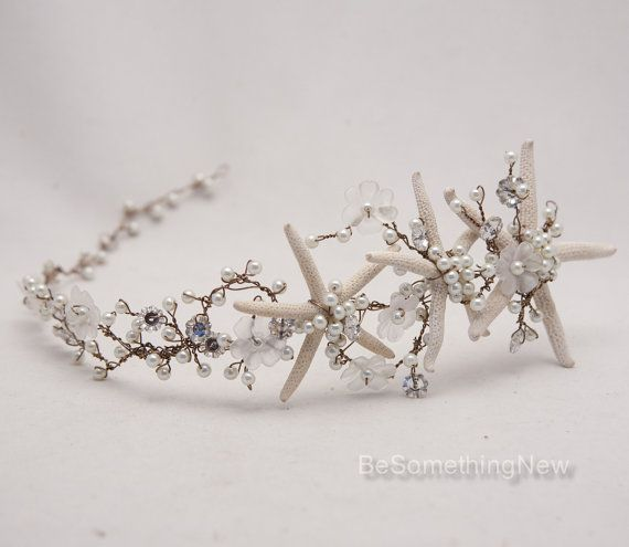 Beach Wedding Starfish and Pearl Wired Hair Vine. Pearls and rhinestone flowers are wired on copper/brown wire to form this beach wedding hair