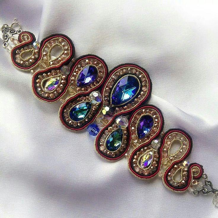 Soutache and crystal bracelet