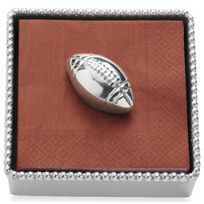 Mariposa Beaded Napkin Box with Football Weight and Cocktail Napkins
