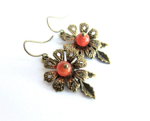 Flower earrings carnelian dangle earrings by MalinaCapricciosa