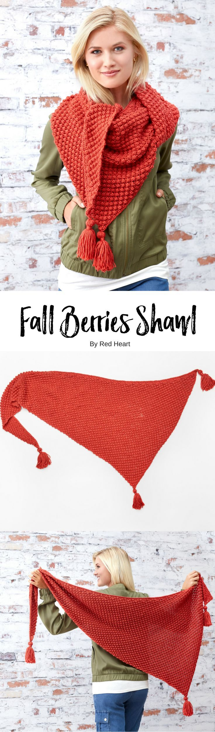 Knit Fall Berries Shawl in Soft. This shawl's textured stitch is perfect for keeping the chill in the air out. Wear it all autumn long, and wrap it close as the winter's frost sets in, it's sure to become a favorite.