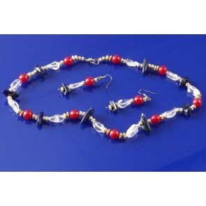 Sodalite, crystal and pearl necklace, 48cm