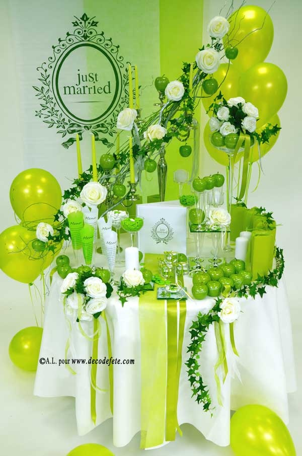 8 best d co de table en blanc vert anis images on for Centre de table vert anis