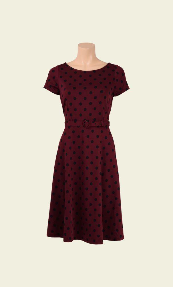 Deze Betty Dress met de wijde boothals heeft een vintage feeling. De jurk zit…