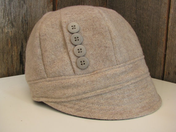 Stone Beige Wool Cloche Hat with Bow size 23 by sugarsoul on Etsy, $65.00
