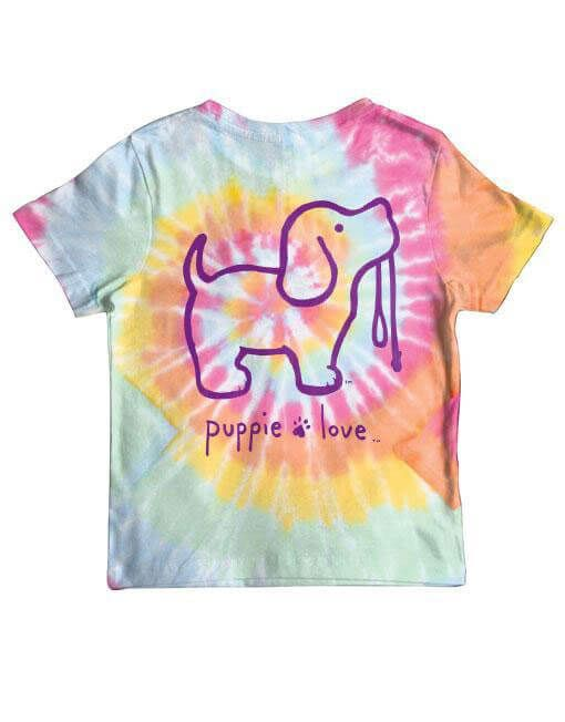 70ad058adce1 Puppie Love Tie Dye Puppy T-Shirt for Girls in Tie Dye #2 YTH-SPL523