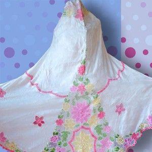 Mukena Sutra Bordir Rancang, handmade embroidery