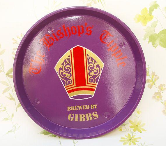 1970s / 1980s 'Bishops Tipple' Beer Ad Metal Serving Tray by CupfulofTrinkets