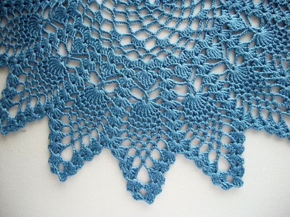 Crochet Pineapple Doily Medium Blue Lace by HandcraftedorVintage