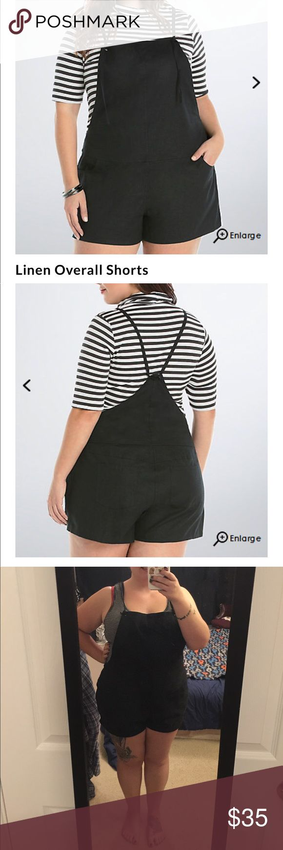 """Torrid Overall Shorts NWT Size 1 Overall, these overalls are definitely going to be the most unique thing you own this spring. Black linen lends a loose and lightweight fit. The smock front sports cute adjustable ties that lead to a sexy v-back. Front and back pockets.   Model is 5'9"""", size 1 Size 1 measures 3 1/2"""" inseamPolyesterWash cold, line dryImported plus size overalls torrid Jeans Overalls"""
