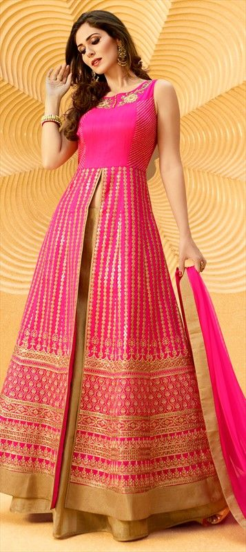 718462 Pink and Majenta  color family Long Lehenga Choli in Art Silk fabric with Border, Cut Dana, Kasab, Machine Embroidery, Patch, Resham, Sequence, Stone, Thread work .