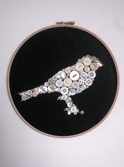 put a button bird on it!!!Crafts Ideas, Button Art, Buttons Crafts, Buttons Buttons, Birds Pictures, Buttons Art, Embroidery Hoop Art, Buttons Birds, Birds Buttons