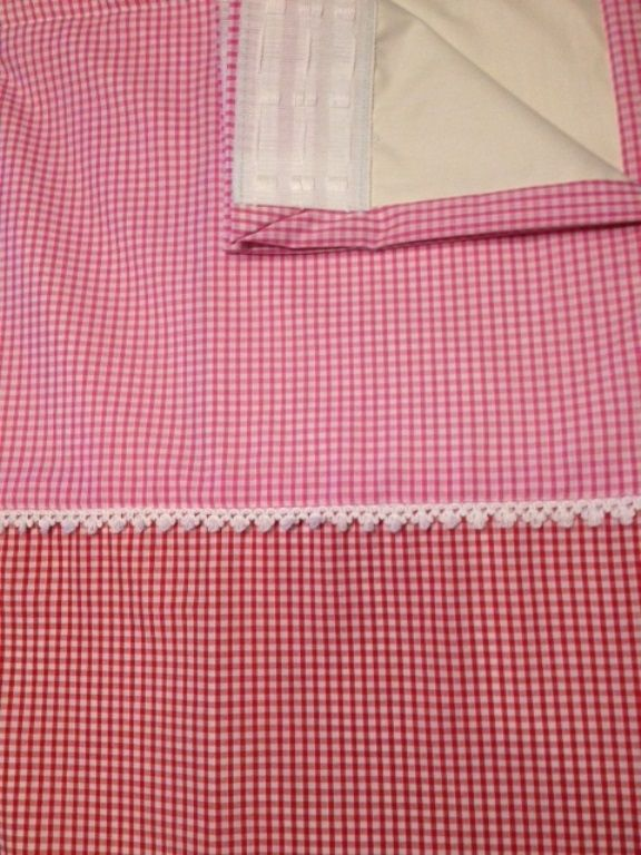 """Two Tone 1/8"""" Gingham polycotton curtains. Pink and  Red. Harmonious Colours that lie together on the colour chart! Blackout Lined."""