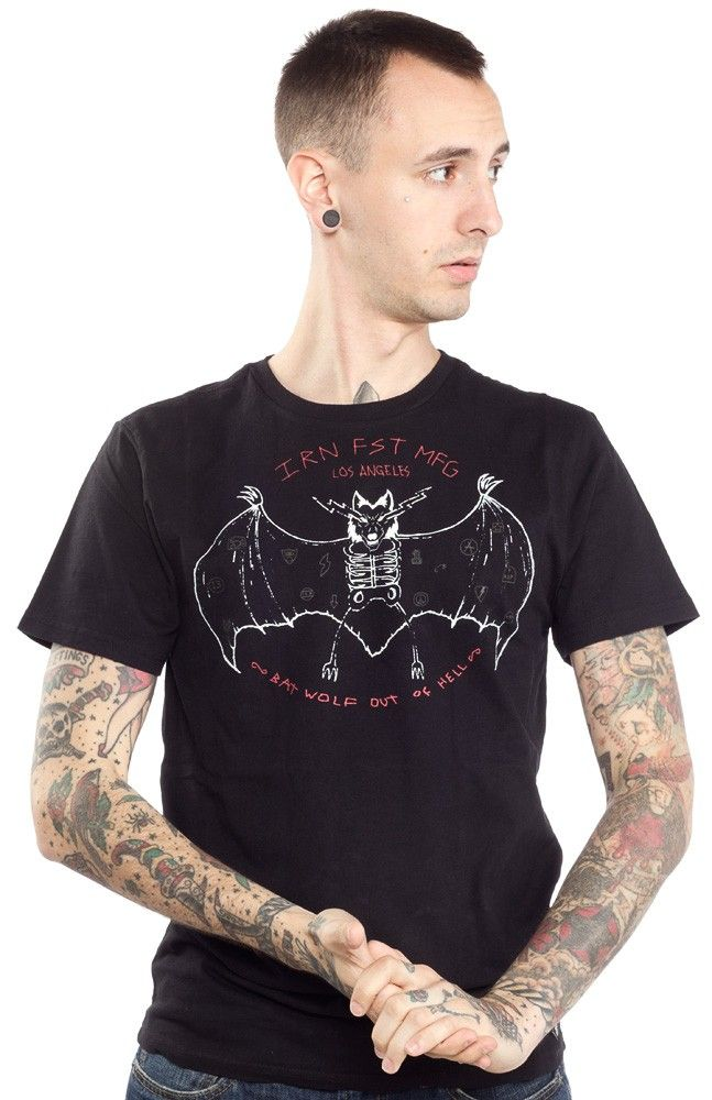 IRON FIST BATWOLF T SHIRT Iron Fist brings you the Bat Wolf tee straight outta hell! The short sleeve black t-shirt features one sketchy skeleton bat printed on the front. $25.00 #ironfist #guys #guystee #bat #wolf #batwolf