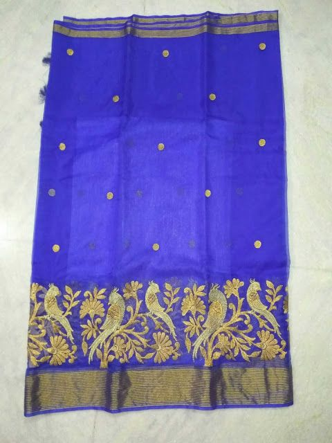Semi organza sarees with full embroidery  to buy WhatsApp on 9703713779