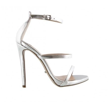 ATKINS Silver Metallic Leather Tony Bianco Dress Heel