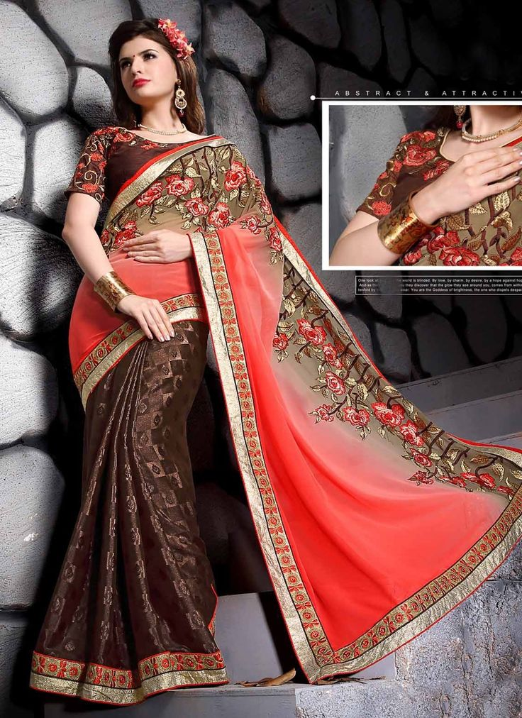 Be the sunshine of anyone's eyes dressed with this pretty brown faux georgette designer saree. This lovely attire is displaying some wonderful embroidery done with embroidered and patch border work....