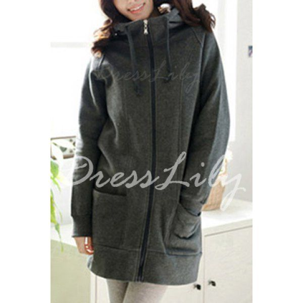 Casual Hooded Long Sleeve Pure Color Plus Size Women's Zip Up Hoodie