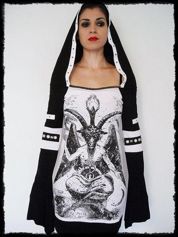 This awesome Baphomet shirt features my signature hoodie design! I started with a licensed Mens t-shirt and hand cut it to a feminine form. I