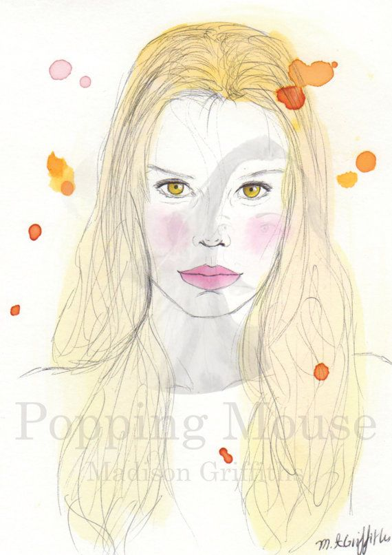 Olivia  Original Watercolour Painting by Madison by PoppingMouse