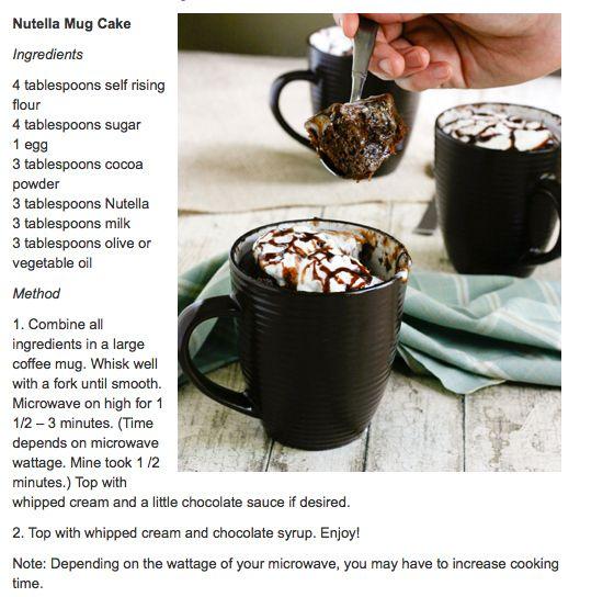5 Minute Nutella Mug CakeDesserts, Chocolate, Recipe, Sweets, Food, Nutella Cake, Nutella Mugs Cake, Yummy, Mug Cakes
