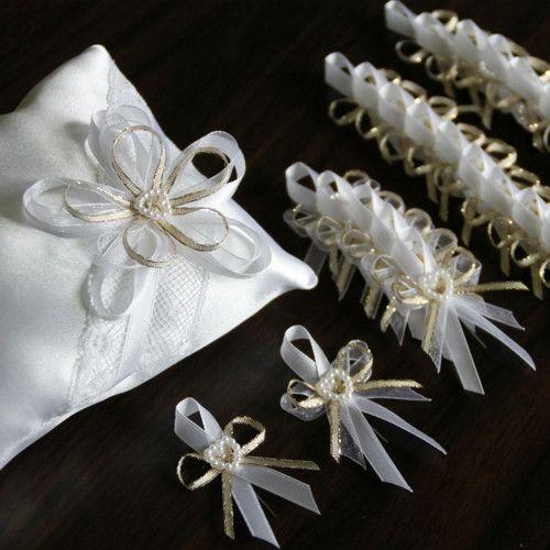 Svatební sada ZLATÁ = polštářek + vývazky