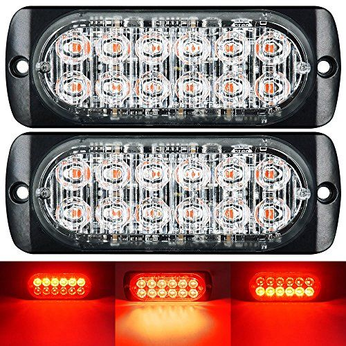 WEISIJI LED Strobe Light,2Pcs Universal Super Thin Dash Lights 12-LEDs Red 18-Flashing Modes Car Truck Warning Caution Emergency Construction Work Light Bar(12leds 2pcs red)  Universal fit all Cars SUV vans and trucks with DC 12-24V  Material: High Quality Aluminum alloy + PC Lens  Quick instant start-up time.Powered by 12 high intensity LEDs with optical lens. 18 different flashing patterns. Last pattern memory recall. No-flicker. Vibration resistant.Quick instant start-up time  Anti-...
