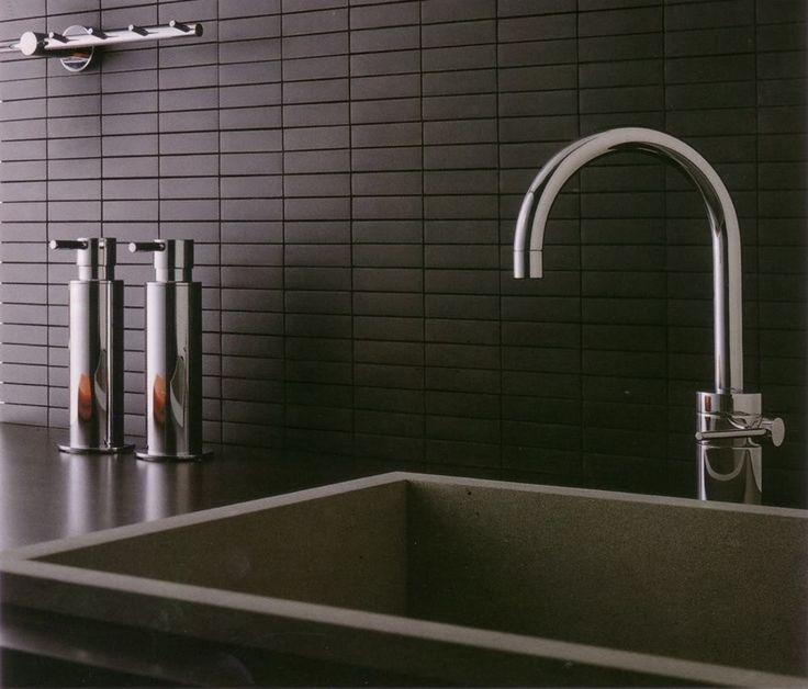 backsplash - dark, matte brown/black asian tiles - cavastone, could also do a light grey, or even an accent light aqua