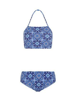Teens Blue Tile Print Halter Neck Bikini Set  | New Look