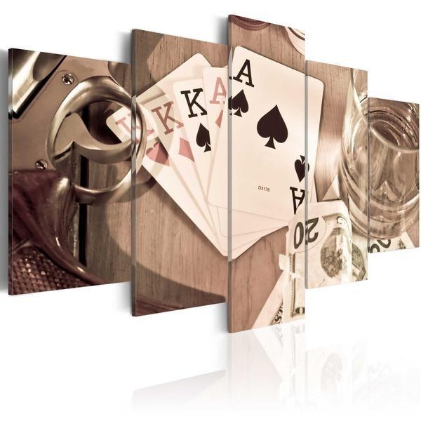 Quadro - Notte di poker - seppia. Quadro moderno su tela italiana di qualità deluxe. Alta definizione di stampa e bordi rivestiti. Pronto da appendere.Cm 100x50 a €74,99 #quadrivintage #quadriretro  #vintage #ilydecor