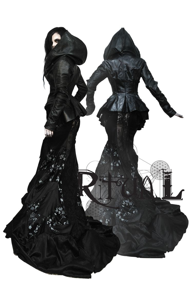 leather and lace clothing | black cloaked leather top with silk and lace skirt fits