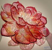 glass flower, blush to pink to orange
